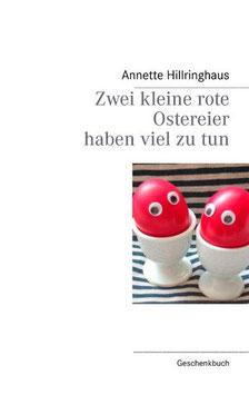 Zwei kleine rote Ostereier haben viel zu tun