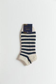 ひつじウール100% (ナチュラルホワイト・ネーヴィブルー柄・薄手・スポーツ)  Sheepwool socks 羊毛靴下 保温性抜群・蒸れない・あったか!
