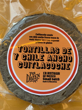 TORTILLAS  DE CUITLACOCHE Y CHILE ANCHO.  EDICION LIMITADA/SMALL BATCH