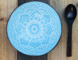 Set Coconut Bowl Boho Style Turquoise + Coconut Spoon
