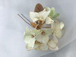 """Haarnadel """"Hortensientraum"""", in Weiß- und Grüntönen, groß"""