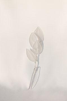 """Haarkamm """"White Leaves"""", silber"""