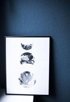 Mondphasen marmoriert Druck schwarz weiß