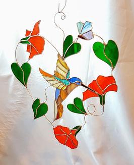 Glas in lood raamhanger Kolibrie 'Joy'