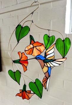 Glas in lood raamhanger Kolibrie  'Rosanna'
