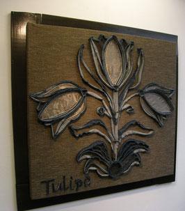 Textielpaneel tulpen blauw/bruin
