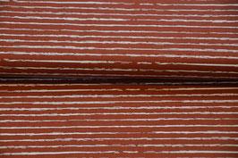 Baumwollstoff mit Streifen in Terra Kotta