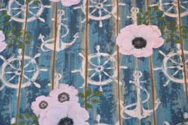 Canvas mit Blumen und Steuerrad