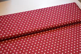 Rot/Weiss  mit Sterne 100% baumwolle, Breite: 1,45Dunkelrot
