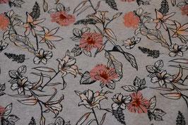 Blumenmuster in Grau/Rosa