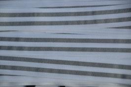 Ripsband, 25mm, Weiß/Grau