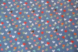 Bunte Herzen zu Besuch auf Baumwolle Farbe: Jeans