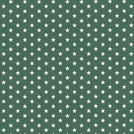 Baumwollstoff in Dunkelgrün mit weißen Sternen