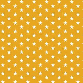 Baumwollstoff auf gelben Untergrund mit weißen Sternen