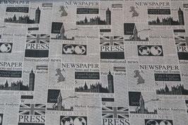 Newspaper (Zeitungstoff) Baumwolle mit Zeitungsmotiven bedruckt