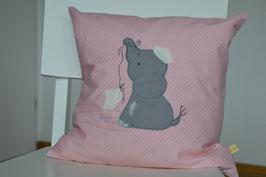 Kissenhülle, Süßer Elefant auf rosa/weiss gepunkteten Stoff