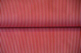 Baumwollstoff Hell Rot/Weiß gestreift
