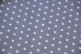 Sterne Stoff Taupe mit weißen Sternen 100% Baumwolle, Breite: 1,45