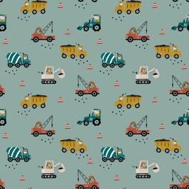 Bauhfahrzeuge in bunten Farben Mint