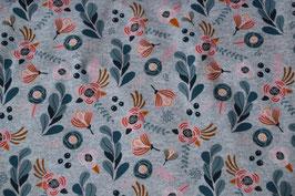 Super schönes Muster. Blumen auf grauen Grund.
