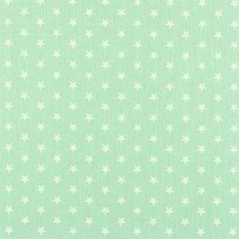 Baumwollstoff in Mint mit weißen STernen