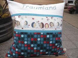 Kissen mit Traumland bestickt. 40x40