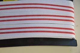 Gummiband 40mm, Rot/weiß