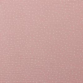 Doublke Gauze Rosa mit Weißen Punkten