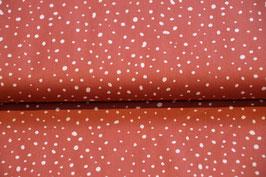 Baumwollstoff in Terra Kotta mit Punkten