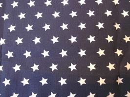 Marine Stoff mit Weissen Sternenmotiv