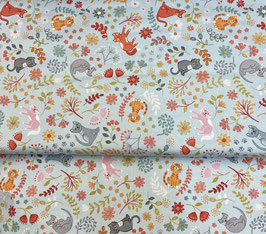 floral cats on light blue - Z148