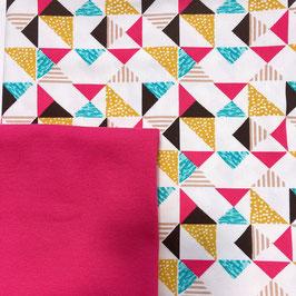 Stoffpaket Jersey -   Gemustert Jersey, Bündchen (geometrische pink)