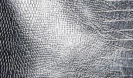 Kunstleder-Zuschnitt Metallic Silber Struktur
