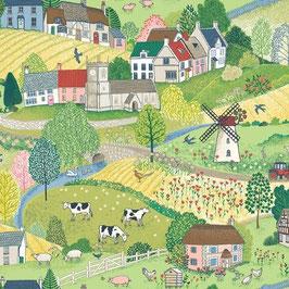 Village Life scenic - Baumwolle