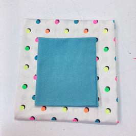 Stoffpaket Jersey - Dot  / Bündchen (neon)