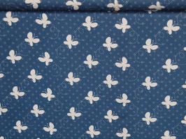 Jersey weiss/blau- Schmetterlinge- jeansblau natur