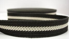 Gurtband - Herringbone Center Ecru-Dark Khaki - 4cm