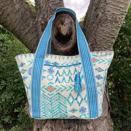 Grosse Einkaufstasche - Strandtasche - Canvas -Turkis