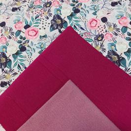 Stoffpaket Blumenparadies -   Gemustert Jersey, Uni Jersey, Bündchen