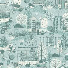 Claras Garden Scene - Makower UK - Baumwolle