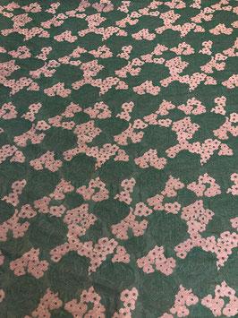 Brokat Jacquard - Flores grün/altrosa