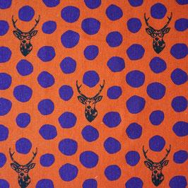 Kokka Echino Hirsch - orange/lila
