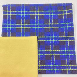 Stoffpaket Jersey -   Gemustert Jersey, Bündchen (blau karo)