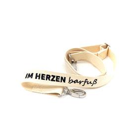 "Bag shoulder strap ""Im Herzen barfuß"" - beige/black"
