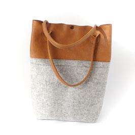 le flâneur Handtasche aus braunem Leder und Wollfilz