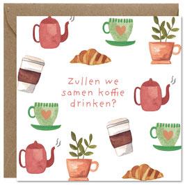 'Zullen we samen koffie drinken?' wenskaart