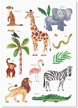 'Safari dieren' poster A2
