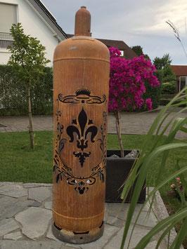 Feuertonne - Lilie mit Wappen