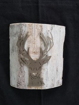 Rothirsch Leif auf Holz