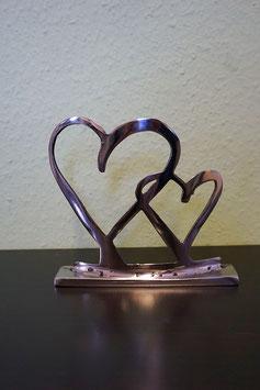 Herzen Deko Figur / gebürstet